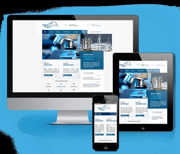 Wizualizacja responsywnej strony www na komputerze, tableci i smartfonie