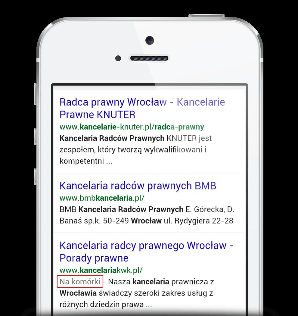 Zrzut z wyników wyszukiwania zwracanych przez wyszukiwarkę Google.pl na smartfonie, pokazujące informację 'na komórki' przy stronach, kóre są dostosowane do urządzeń mobilnych.