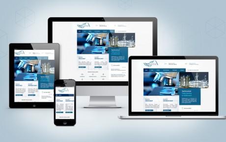 Strona internetowa firmy TechControl przedstawiona na komputerze, laptopie, tablecie oraz smartfonie