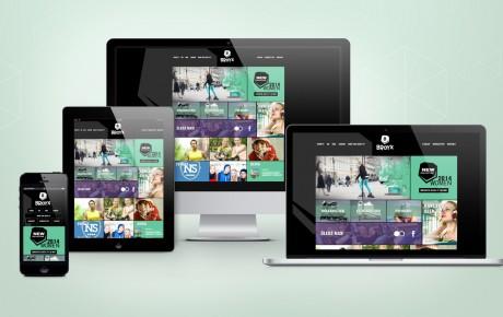 Responsywna strona internetowa marki sprzętu sportowego przedstawiona na różnych urządzeniach
