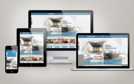 Responsywna strona internetowa agencji nieruchomości przedstawiona na różnych urządzeniach