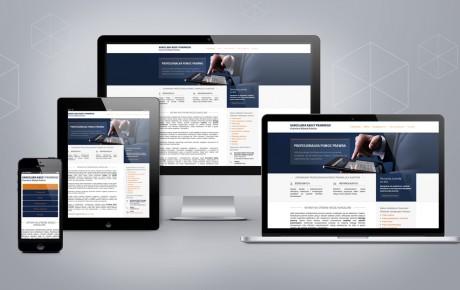 Zrzut strony internetowej zaprezentowany na laptopie, tablecie, komputerze oraz smartfonie